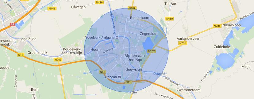 Kaart Alphen aan den Rijn
